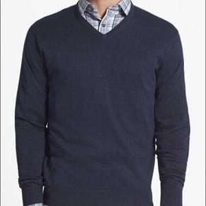 Silk, Cotton & Cashmere V-Neck Sweater XXL Navy